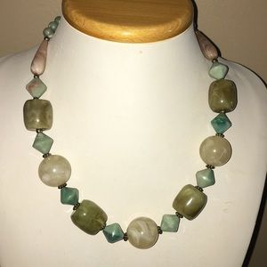 Green multi colored beaded necklace